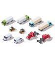 isometric truck transportation trucks vector image vector image