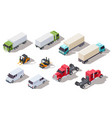 isometric truck transportation trucks with vector image vector image