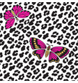 leopard print and butterflies seamless pattern vector image vector image