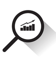 magnifying glass with graph icon vector image vector image