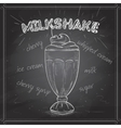 Milkshake scetch on a black board vector image vector image