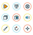 multimedia icons colored line set with upward vector image vector image