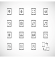Online mobile applications iconset contour flat vector image vector image