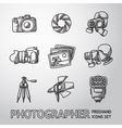 Photographer freehand icons set with - shutter vector image vector image