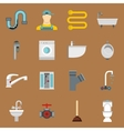 Plumbing icons set in flat style vector image vector image