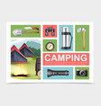 realistic camping elements composition vector image