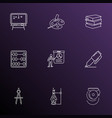 school icons line style set with compass art vector image