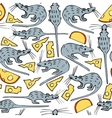 Seamless Pattern with Mice and Cheese vector image vector image