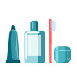 set mouth care a tube toothpaste mouthwash vector image vector image