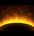 space background with gold light sun planet vector image