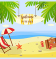 summer beach vacation banner with lounge and vector image