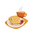 tasty sliced bread toasts with fruit jam on plate vector image vector image
