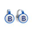 thai baht symbol on blue advertising wobblers vector image