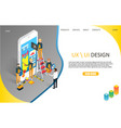 ux or ui design landing page website vector image vector image