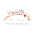watercolor floral frame on a white background vector image vector image