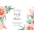 wedding invite save date card design blush roses vector image vector image