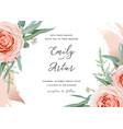 wedding invite save date card design blush roses vector image
