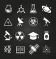 white science icons on chalkboard vector image