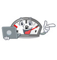 with laptop gasoline indicator in the character vector image