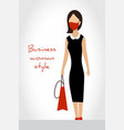 woman in business clothes with bag and wearing vector image