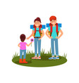 young family couple and their little daughter vector image