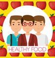 young men with apples healthy food vector image vector image