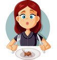 young woman eating a cricket for healthy proteins vector image vector image