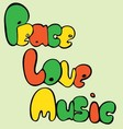 Design of Peace Love and Music in bubble style in vector image