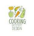 hand drawn cooking logo design with fresh vector image