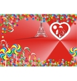 Bright candy and hearts on a red background vector image