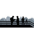 two engineers and a construction site vector image