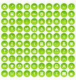 100 school years icons set green circle vector image vector image
