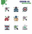9 filled line flat color coronavirus disease vector image vector image