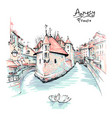 annecy venice of the alps france vector image vector image