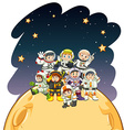 Astronaunts standing on the planet vector image