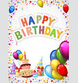 Birthday cartoon with colorful balloon and birthda vector image vector image