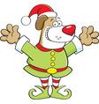 Cartoon dog wearing an elf costume vector image vector image