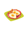 cartoon eggs with bacon on red plate traditional vector image vector image
