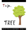 cartoon of capital letter t with tree vector image