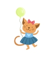 Cat Cute Animal Character Attending Birthday Party vector image vector image
