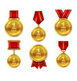 champion gold medals award winner trophy golden vector image vector image