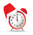 clock with red christmas hat vector image vector image