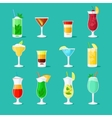 Cocktail flat icons vector image