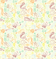 Color Sport and fitness seamless doodle pattern vector image