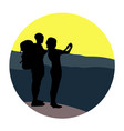 couple - young man and woman - walking on a vector image