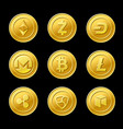 crypto currency golden coins isolated on black vector image
