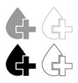 drop and cross icon set grey black color vector image