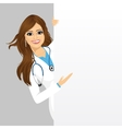 female doctor with a blank presentation board vector image vector image
