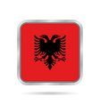flag of Albania shiny metallic gray square button vector image vector image