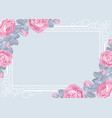 flora card template with roses and frame vector image